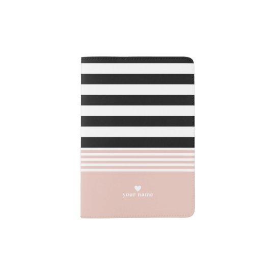 Black, White & Pink Striped Personalised Passport Holder