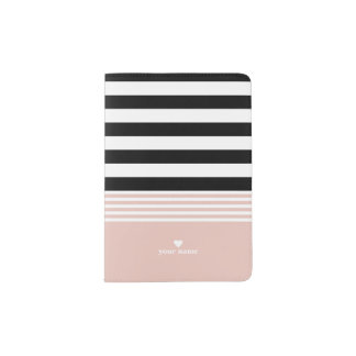 Black, White & Pink Striped Personalized Passport Holder
