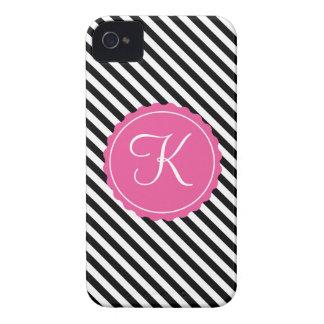Black, White & Pink Stripes Custom Initial Case-Mate iPhone 4 Case