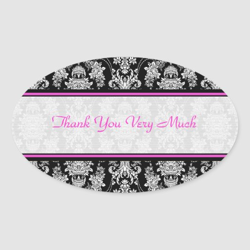 Black White  & Pink Vintage Baroque Floral Pattern Oval Stickers
