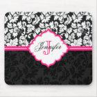 Black White & Pink Vintage Floral Damasks 2 Mouse Mat