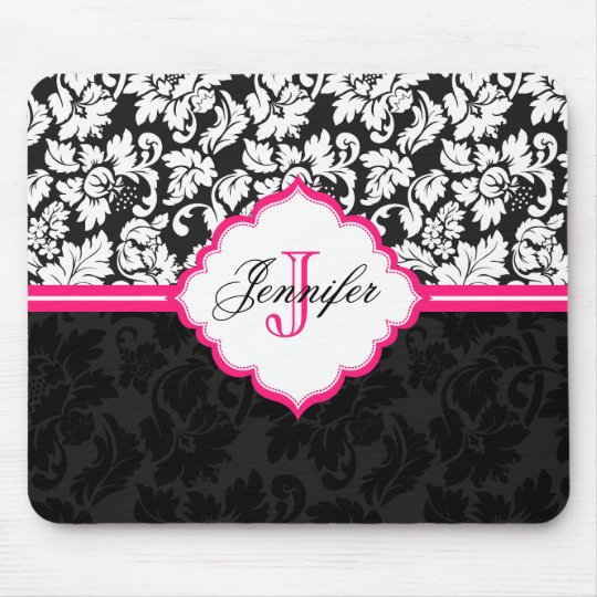 Black White & Pink Vintage Floral Damasks 2 Mouse Pad