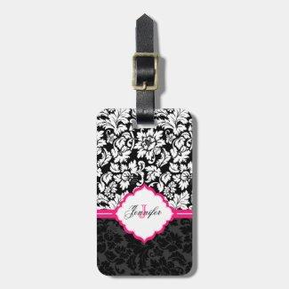 Black White & Pink Vintage Floral Damasks Travel Bag Tag