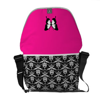 Black & White & Pink with Wings Courier Bag