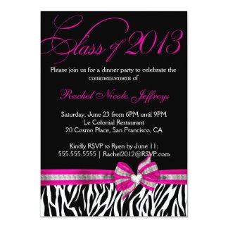 Black White Pink Zebra Graduation Invitation