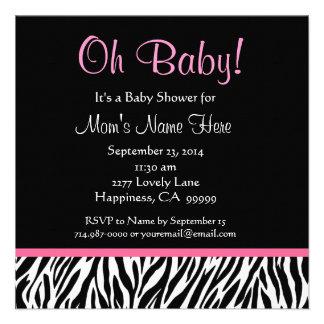 Black White Pink Zebra Print Baby Shower Personalized Invitation