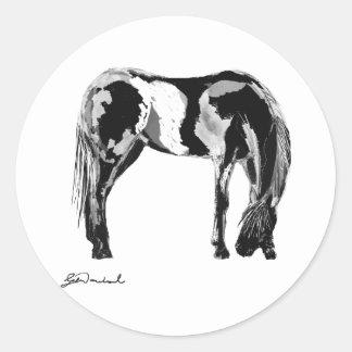 Black white pinto horse sticker