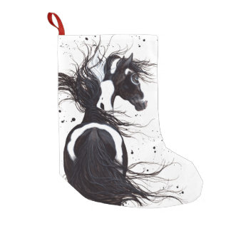 Black White Pinto Paint Horse Christmas Stocking