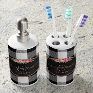 Black & White Plaid Pattern | Wedding Monogram Soap Dispensers
