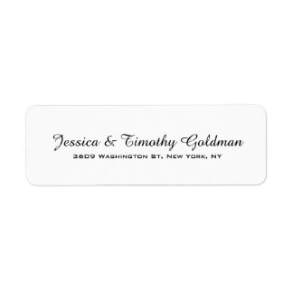 Black & White Plain Elegant Modern Trendy Family Return Address Label