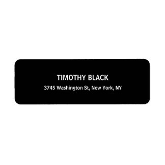Black & White Plain Elegant Modern Unique Return Address Label