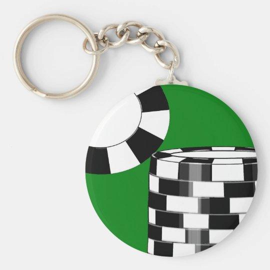 Black white poker chips on green basic round button key ring