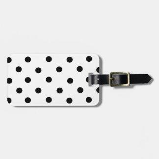 Black/White Polka-Dot and Coral Bag Tag