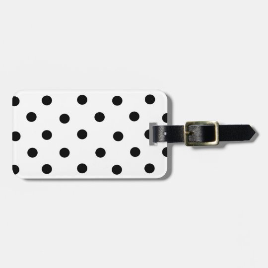Black/White Polka-Dot and Coral Luggage Tag