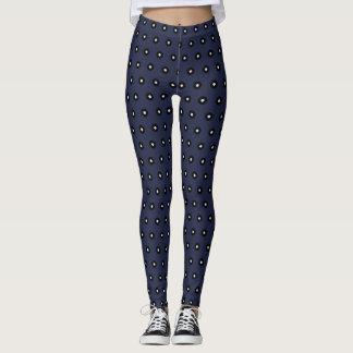 Black/White Polka Dot Blue Background (Changeable) Leggings