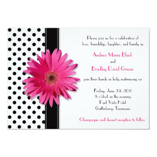 Black White Polka Dot Daisy Wedding Invitation