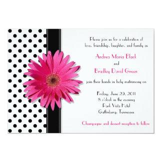 "Black White Polka Dot Daisy Wedding Invitation 5"" X 7"" Invitation Card"