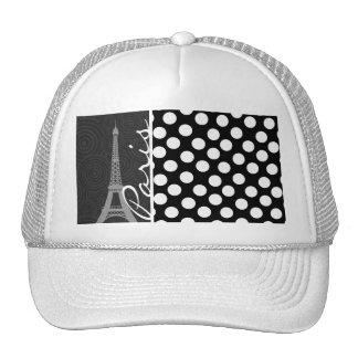 Black & White Polka Dot, Dots; Paris Hat