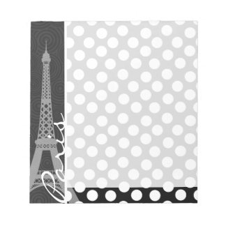 Black & White Polka Dot, Dots; Paris Notepad