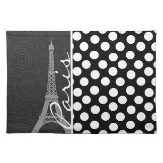 Black & White Polka Dot, Dots; Paris Place Mats