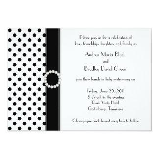 Black White Polka Dot Jewel Wedding Invitation