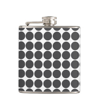 Black & White Polka Dot Pattern Flask
