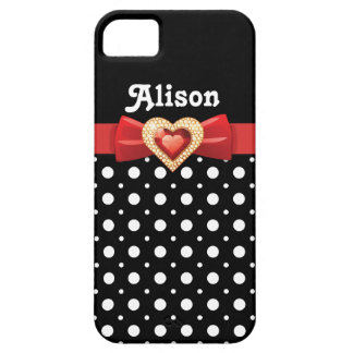 Black white polka dot pattern & red bow and jewel case for the iPhone 5