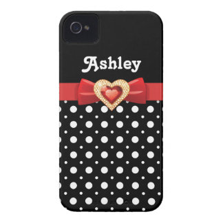 Black white polka dot pattern & red bow and jewel iPhone 4 Case-Mate cases