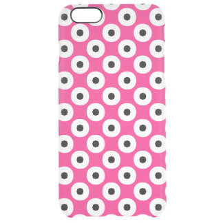 Black/White Polka Dot Pink Background (Changeable) Clear iPhone 6 Plus Case