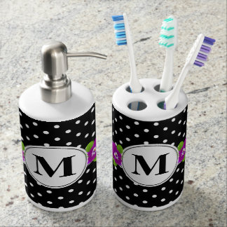 Black White Polka Dot Purple Pansy Custom Monogram Bathroom Set