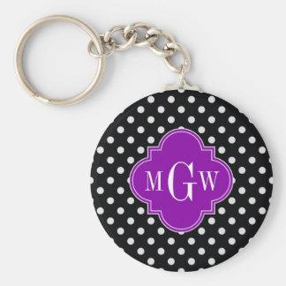 Black White Polka Dot Purple Quatrefoil 3 Monogram Basic Round Button Key Ring