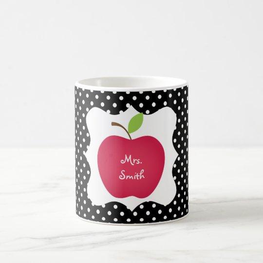 Black & White Polka Dot Red Apple Teacher's