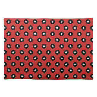 Black/White Polka Dot Red Background (Changeable) Placemat