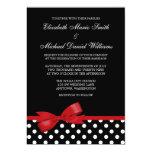 Black White Polka Dot Red Faux Bow Wedding 13 Cm X 18 Cm Invitation Card