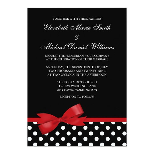 Black White Polka Dot Red Faux Bow Wedding