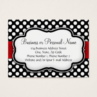Black/White Polka Dot Red Ribbon Business Card