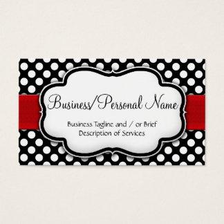 Black/White Polka Dot Red Ribbon Front/Back Business Card