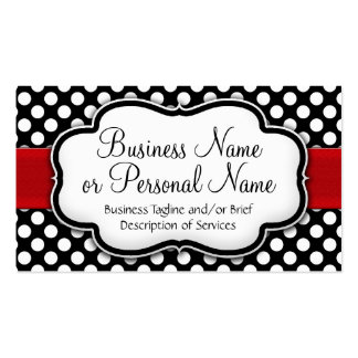 Black/White Polka Dot Red Ribbon Front/Back Pack Of Standard Business Cards
