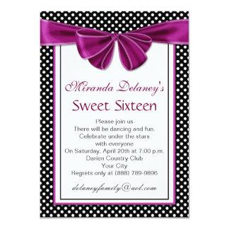 Black white polka dot, ribbon Sweet 16 Party 11 Cm X 16 Cm Invitation Card