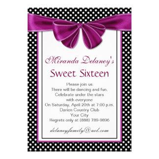 Black white polka dot ribbon Sweet 16 Party Invite