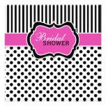 Black, White Polka Dot Stripe Bridal Shower Invite