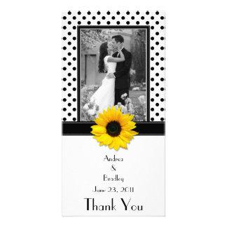 Black White Polka Dot Sunflower Wedding Photo Cards
