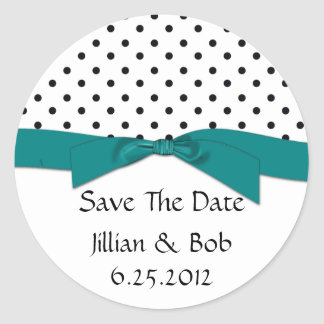 Black White Polka Dot Teal Ribbon Save The Date Round Sticker