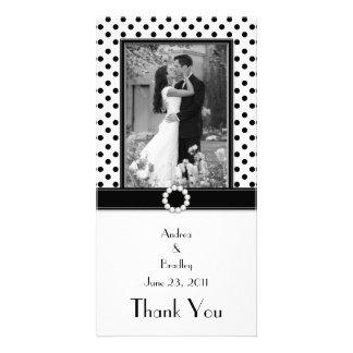 Black White Polka Dot Wedding Photo Photocard Photo Card Template