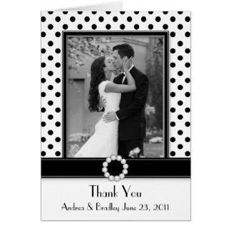 Black White Polka Dot Wedding Photo Thank You Greeting Card