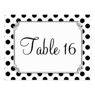 Black & White Polka Dot Wedding Table Numbers Postcard