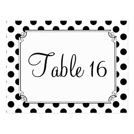 Black & White Polka Dot Wedding Table Numbers Post Cards