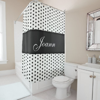 Black White Polka Dot with Black Satin-Look Ribbon Shower Curtain