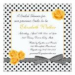 Black white polka dot yellow rose Bridal Shower Custom Invitation