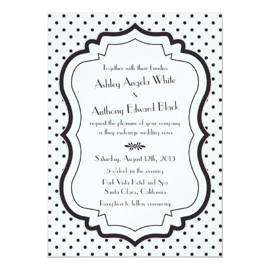 Black White Polka Dots 1950s Wedding Invitation
